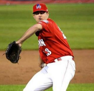 Mooney making his first professional appearance with the Auburn Doubledays of the New York-Penn league. (Photo by Glenn Gaston Photography, courtesy of Kevin Mooney)