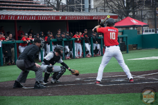 Catcher Justin Morris bats for Maryland against Army on 2/25/18. Photo by Amanda Broderick/Maryland Baseball Network