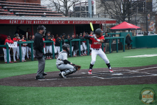 Marty Costes bats for Maryland against Army on 2/25/18. Photo by Amanda Broderick/Maryland Baseball Network