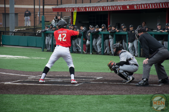 Marty Costes bats for Maryland. Photo by Amanda Broderick/Maryland Baseball Network