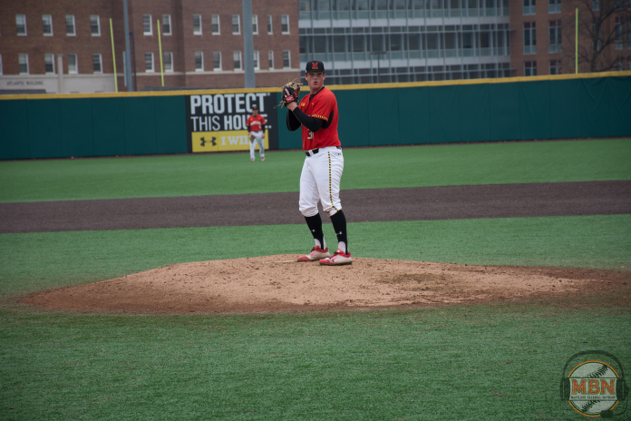 John Murphy comes set before delivering a pitch. Photo by Amanda Broderick/Maryland Baseball Network