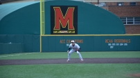 Third baseman Taylor Wright anticipating a hit. Photo by Amanda Broderick/Maryland Baseball Network
