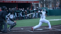 Nick Dunn follows his hit. Photo by Amanda Broderick/Maryland Baseball Network