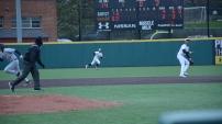 Maryland baseball players chasing a pop up. Photo by Amanda Broderick/Maryland Baseball Network