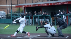 Chris Alleyne at bat. Photo by Amanda Broderick/Maryland Baseball Network