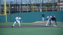 Justin Vought leads off first, ready to steal. Photo by Amanda Broderick/Maryland Baseball Network