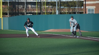 First baseman Kevin Biondic leads off of first. Photo by Amanda Broderick/Maryland Baseball Network