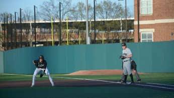 Outfielder Zach Jancarski at first. Photo by Amanda Broderick/Maryland Baseball Network