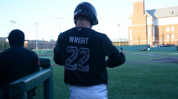 Third baseman Taylor Wright gets ready to bat. Photo by Amanda Broderick/Maryland Baseball Network