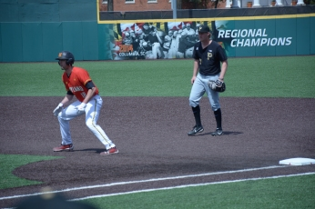Will Watson leads off of first. Photo by Amanda Broderick/Maryland Baseball Network