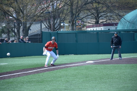 A lead off of third! Photo by Amanda Broderick/Maryland Baseball Network
