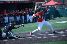 Catcher Justin Vought in mid swing. Photo by Amanda Broderick/Maryland Baseball Network