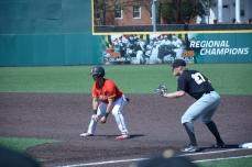 Outfielder Randy Bendar leads off of first. Photo by Amanda Broderick/Maryland Baseball Network