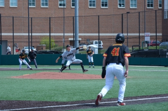 Kevin Biondic leads off of third, ready to go home. Photo by Amanda Broderick/Maryland Baseball Network