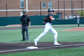 Zach Jancarski rounding third after hitting a home run. Photo by Amanda Broderick/Maryland Baseball Network