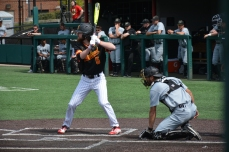 Brad Barnett at the plate. Photo by Amanda Broderick/Maryland Baseball Network