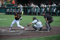 Justin Morris at bat. Photo by Amanda Broderick/Maryland Baseball Network