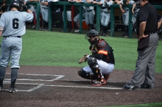 Catcher Justin Morris waiting for a call. Photo by Amanda Broderick/Maryland Baseball Network
